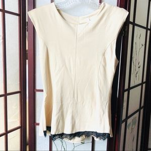 Beige top with lace on front bottom size M